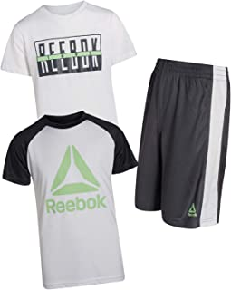 Reebok Boys 3-Piece Athletic Active Sports Tee-Shirt and Short Set