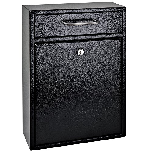 Mail Boss 7412 High Security Steel Locking Wall Mounted Mailbox-Office Comment Letter Deposit, Black Drop Box