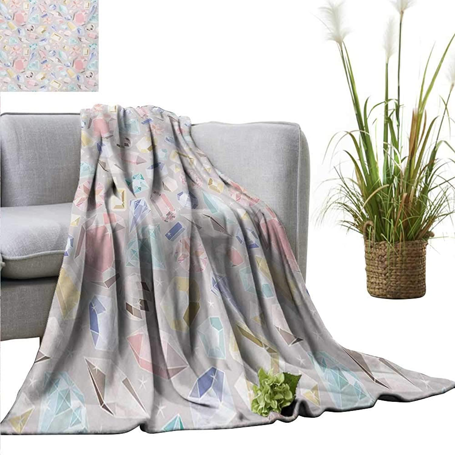 AndyTours Bed Blanket,Pastel,colorful Diamond Gemstone Figures Rich Feminine Women Fashion Theme Digital Print,Multicolor,for Bed & Couch Sofa Easy Care 60 x63