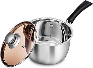 WEZVIX 2.5 Quart Saucepan Stainless Steel Sauce Pot Pan with Cover Dishwasher Safe Nonstick 1.5 Quart Silver