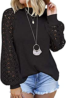 OrientalPort Elegante camicetta da donna vintage in pizzo a maniche lunghe, maniche lunghe, maniche lunghe, stile casual