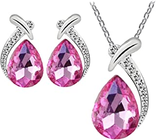 Women's Shiny Crystal Rhinestone Silver Plated Pendent Chain Necklace Stud Earring Costume Fashion Jewelry Set