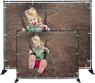 GUOHONG 8'x10' Strengthened Banner Stand Multifunctional Adjustable Telescopic Photo Booth Banner and Reuse for Trade Show and Wall Exhibitor Background Photography Backdrop with Easy Carrying Bag