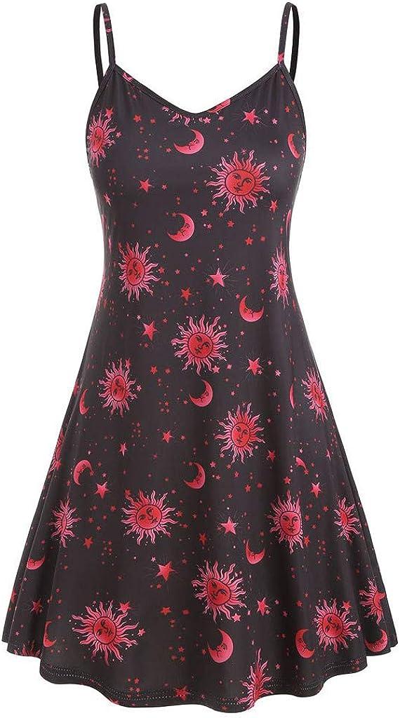 aihihe Plus Size Dresses for Women Sleeveless Spaghetti Strap Floral Print Summer Casual A Line Dress(Purple,XXXXXL)