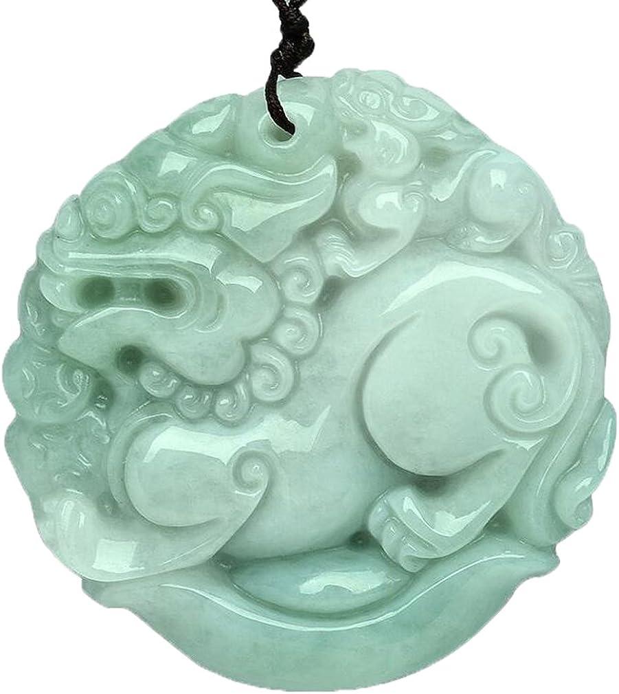 Pure natural Jadeite Fu Foo Dog Lion Kirin kylin Pendant Necklace amulet Men or Women1