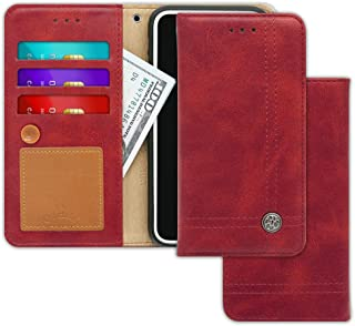 LG K20, K10 (2017), Grace LTE, Harmony Case [Free 9 gifts] TRIM LINE Flip Diary Cover with Slim Folding Wallet Design [Octopus Ver.]– Card Holder, Cash Slots, Kickstand, Strap & Memo Pad -Burgundy Red