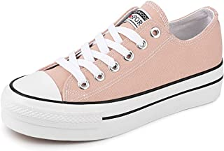 JENN ARDOR Women's Fashion Canvas Shoes Casual Platform Low Top Sneakers Lace Up Walking Flats for Women