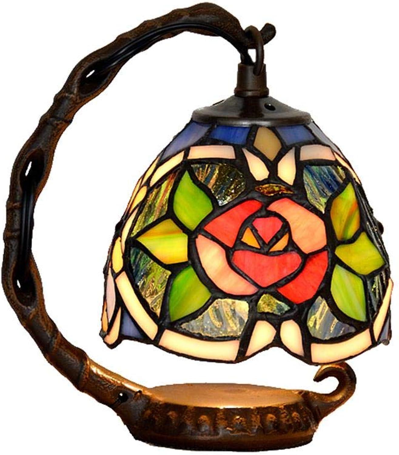 MEHE@ Bunte Blaumen-Retro Art-Buntglas-Tabellen-Lampen-Nachtlicht 15  20cm Schreibtischlampen Nachttischlampen (Farbe   Style 1)