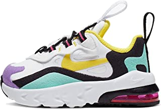 Nike Boys' Toddler AIR MAX 270 React Casual Shoes (4, Black/Bicycle Yellow/Teal Tint)