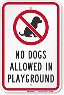 Bensun Nancya No Dog Allowed in Playground Safety Sign 8x12 Tin Metal Signs Road Street Notice Sign Outdoor Decor Caution Signs
