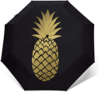 Yellow Pineapple in Black Automatic Umbrella Long Lasting Wind-Proof&Water-Proof Travel Umbrella Ultra Strong&UV Rays Protect Tri-fold Sun Umbrellas for Women Men Outdoor