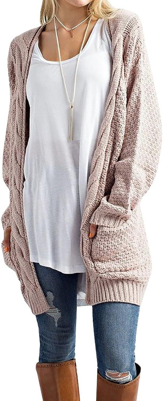 Hestenve Womens Chunky Long Sleeve Pullvoer Knit Cable Lightweight Sweater Outwear
