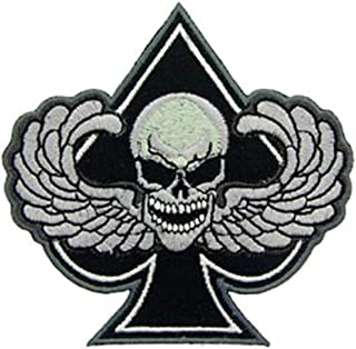 EagleEmblems PM0950 Patch-Death Wing,Spade (Black and White) (3.25'')