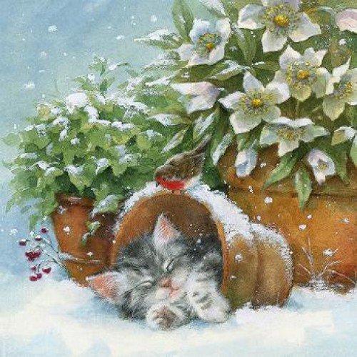 20 servetten kat in bloempot/kerstster/dieren/winter/Kerstmis 33x33cm