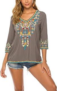 Women's Summer Boho Embroidery Mexican Bohemian Tops Shirt Tunic Blouses