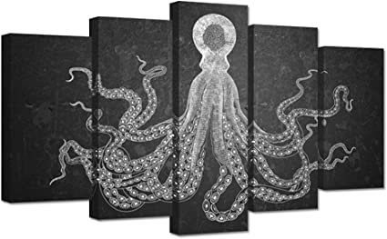 Zingarts 5 Pieces Black And White Octopus Canvas Wall Art Cuttlefish Squid Marine Life Devilfish Sketch Vintage Style Picture Print On Canvas Stretched Modern Art For Home Decor Reay To Hang Amazon Co Uk