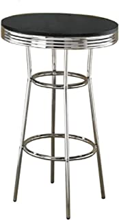 Coaster Home Furnishings CO-2405 Bar Table, Black/Chrome