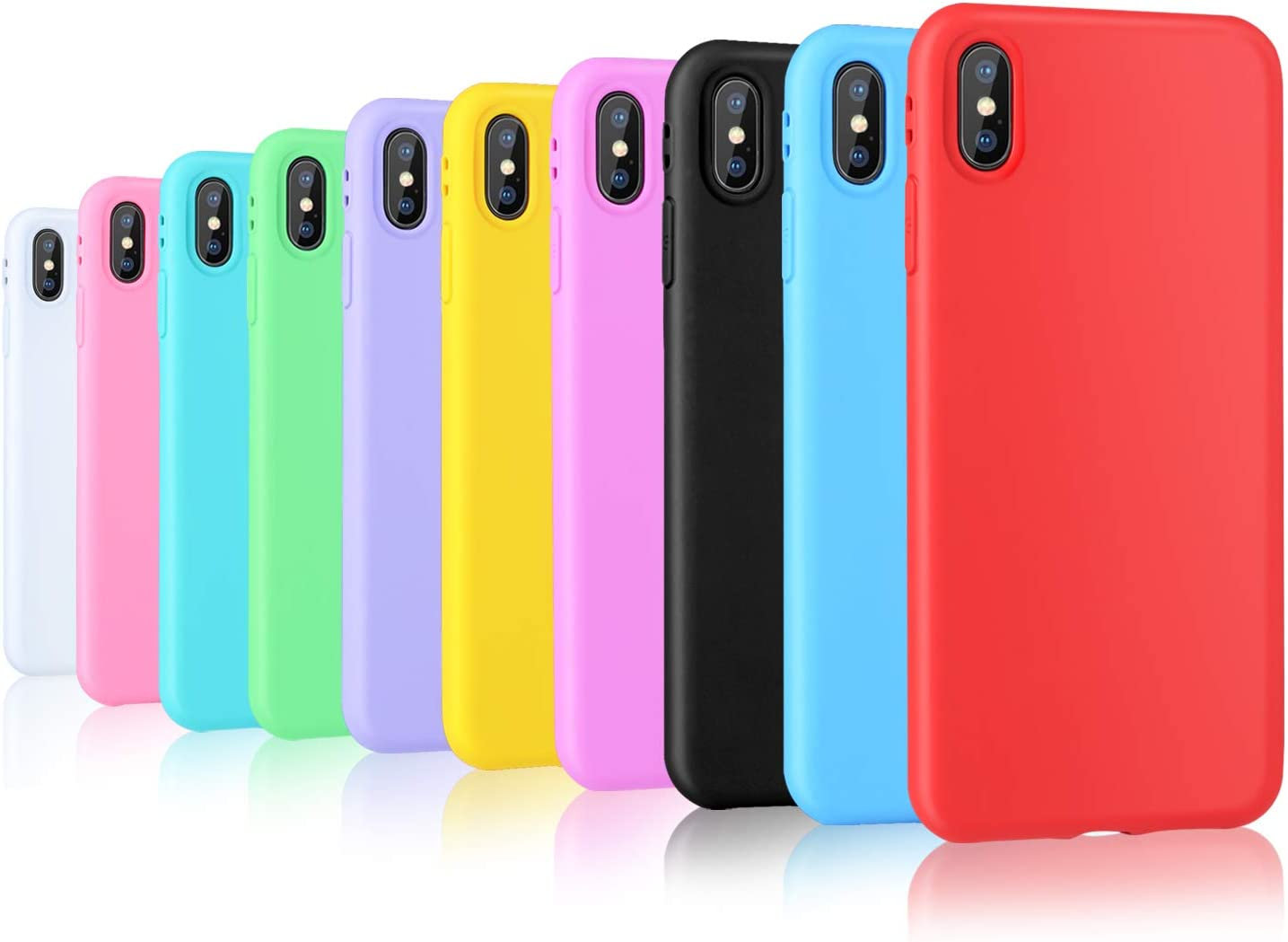 Pofesun iPhone Xs Max Silicone Case, 10 Pack Soft Silicone Gel Rubber Bumper Phone Case Shockproof Full-Body Protective Case Cover Compatible for iPhone Xs Max 6.5 inch(2018)