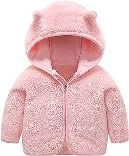 Little Kids Bear Ears Hooded Zipper Coral Fleece Jacket Outerwear
