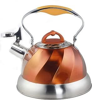 Riwendell Stainless Steel Whistling Tea Kettle Stove Top Kettle Teapot (Orange01)