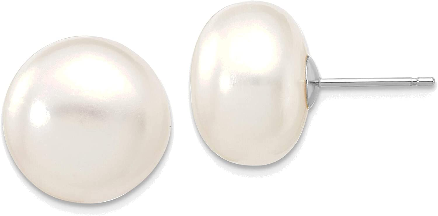 14kt White Gold 12-13mm White Button Freshwater Cultured Pearl Stud Post Earrings