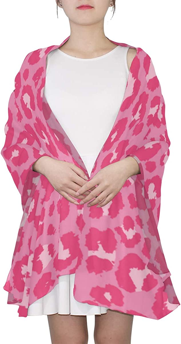 Beautiful Pink Leopard Skin Unique Fashion Scarf For Women Lightweight Fashion Fall Winter Print Scarves Shawl Wraps Gifts For Early Spring