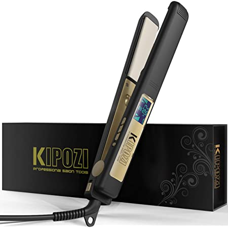 ヘアアイロン ストレートアイロン KIPOZI ストレート カール 2way メンズ 男女兼用 25mm プロ仕様130-230℃温度調整 LCDスクリーン へああいろん専用ポーチ付き アイロン収納 携帯便利 海外対応 K-137 ブラック