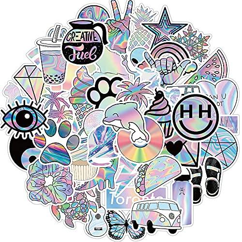 Btyert 50 Uds Mixtos Vsco Holográfico Láser Dibujos Animados Pegatinas Equipaje Monopatín Lindo DIY Cool Graffiti Chica Gradiente Pegatina Calcomanía