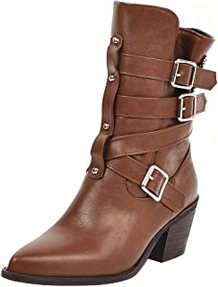 ELEEMEE Women Block Heel Short Boots