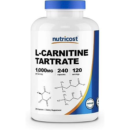 Nutricost L-カルニチン 1000mg、240カプセル、非GMO、グルテンフリー