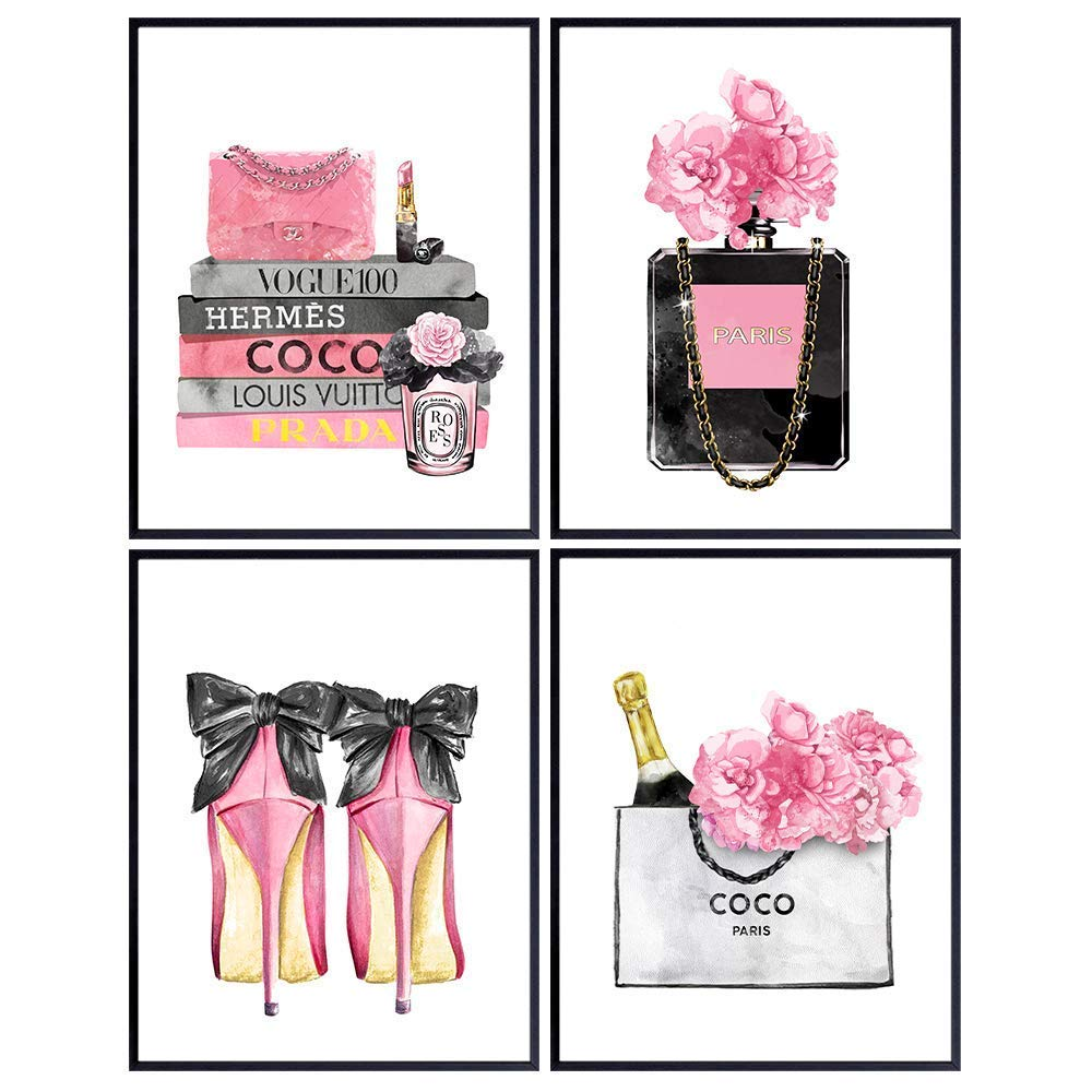 Designer Handbags, Shoes, Perfume Wall Art - Glam Wall Decor - High Fashion Artwork Pictures, Prints Posters Set - Luxury Couture for Women, Teens Room, Girls Bedroom