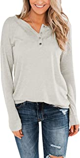 Eshavee Womens Henley Tops Button Up T-Shirts Pure Color Blouses
