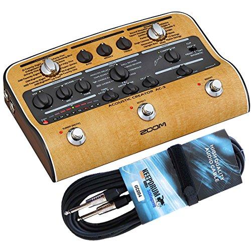Zoom AC-3 Acoustic Creator Effektgerät + keepdrum Gitarrenkabel 3m