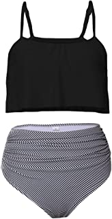 Aleumdr Womens Thin Shoulder Straps Ruched High-Waisted Bikini Swimsuit