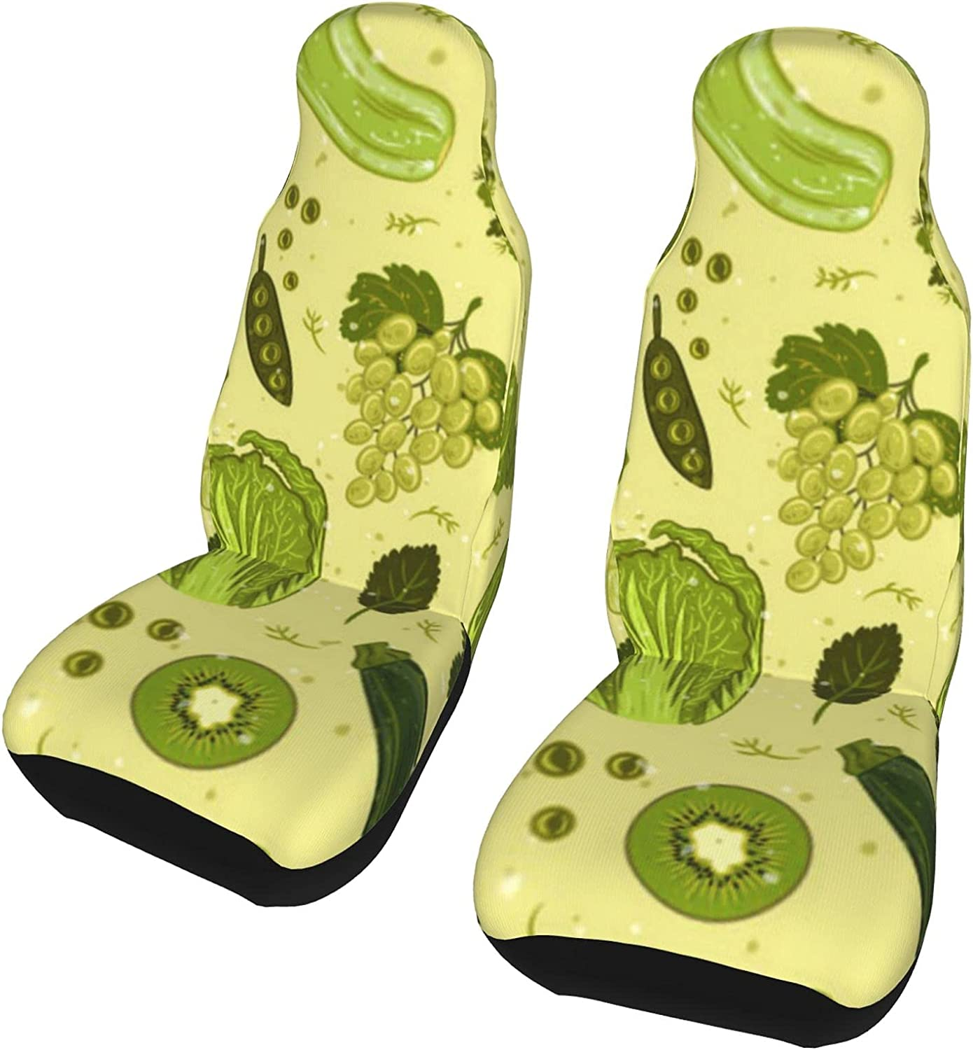 Inrubie Beautiful Green Super special price Fruits Vegetables 2 Seat Car Covers Pcs Free shipping
