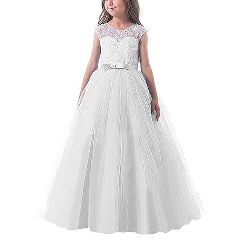 c85405895829 NNJXD Ragazze Pizzo Applique Ricamato Hollow Wedding Bridesmaid Ball Gown  Pageant Comunione Cerimonia Festa di Compleanno