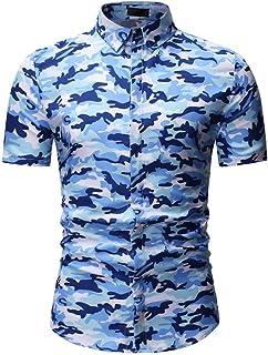 YYZHAO Mens Hawaiian Printed Shirt Loose Summer Short-Sleeved Casual Beach Shirts