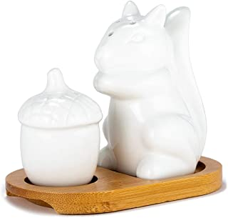 Xena Cute Retro Elegant Ceramic White Squirrel and Acorn Salt and Pepper Shaker with Bamboo Base Set, 4.75 x 3 Inch Seasoning All Natural Eco Friendly Novelty Gift Present Utensil Kitchen Decor