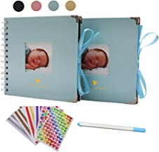 Scrapbook Kit, DIY Handmade Photo Album 2-Pack with 6.5 x 6.5 Inch Pages, Stickers, Marker Pen, Guest Book Memory Book for...