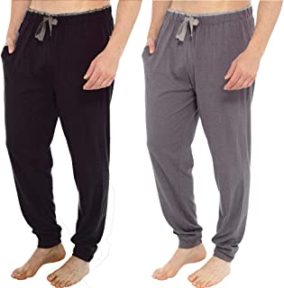 INSIGNIA 2 Pack Mens Pyjama Lounge Bottoms Pants Soft Jersey with Cuffs
