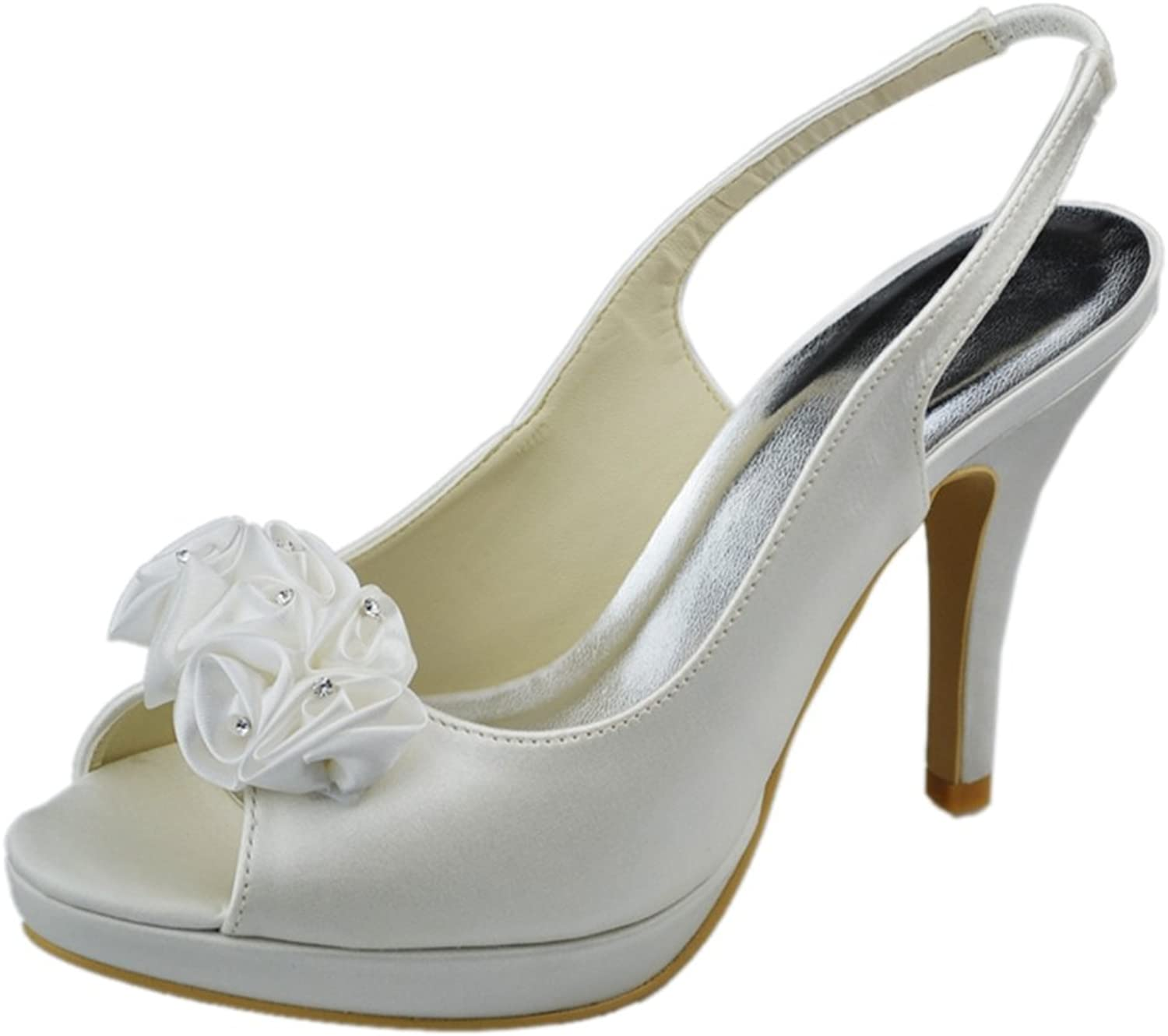Minitoo GYAYL217 Womens Stiletto Heel Open Toe Satin Evening Party Bridal Wedding Strappy shoes