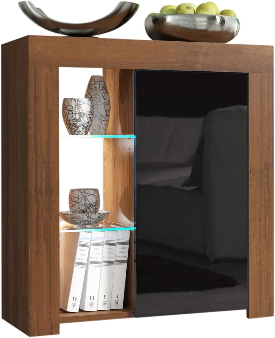 Domadeco Milano 1 Sideboard Contemporary Style Sideboard Cabinet and Buffet/Wooden sideboards Color Walnut and Black