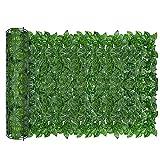 AGJIDSO Pantalla de Cerca de privacidad de Hiedra Artificial, 100 * 300 cm césped de imitación de jardín de,decoración de Hojas de Planta Falsa para jardín de Valla (Hoja de Sandia)