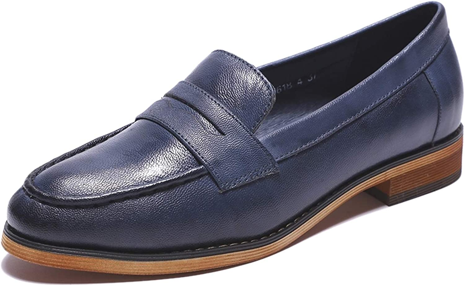 Mona flying Leather Slip on Penny Loafer Casual Flat shoes for Women Ladies Girls bluee
