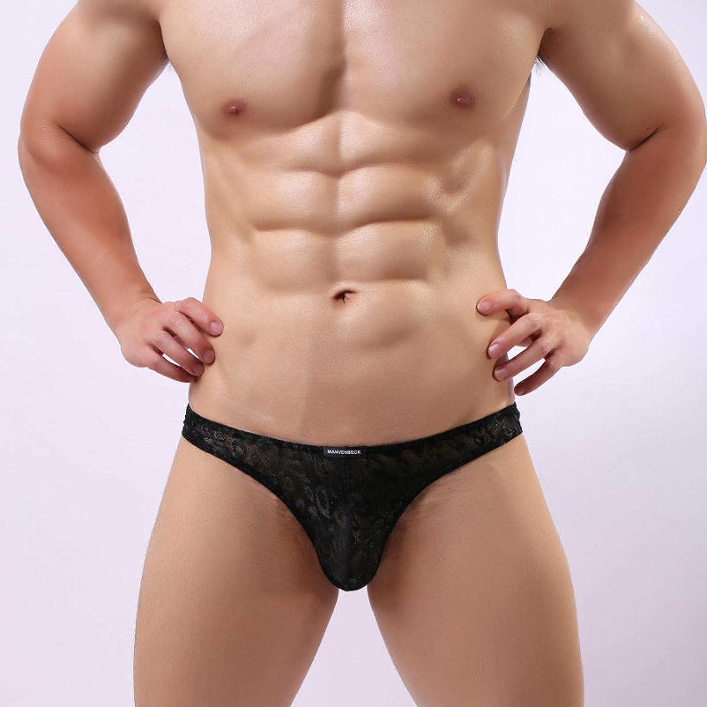 ZCAITIANYA Men's Thong Panties Lace Printed Mesh Solid Color Low Waist Bikini
