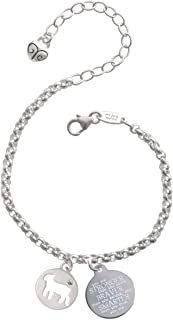 8 Silvertone Give Me Courage Strength Wisdom Medallion Friends Infinity Toggle Chain Bracelet