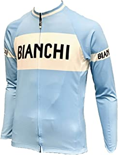 Bianchi Pro Team Long Sleeve Light Blue Cycling Jersey Breathable Bicycle Cycling Top with Rear Pockets BX0057