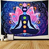 Maccyafst Seven Chakra Tapestry Yoga Meditation Wall Tapestry Colorful Mandala Tapestry Indian Hippie Chakra Tapestry Wall Hanging for Studio Room (H51.2× W59.1)