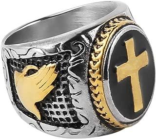Jewelry Men's Stainless Steel Christian Holy Cross Prayer Ring Catholic Religious