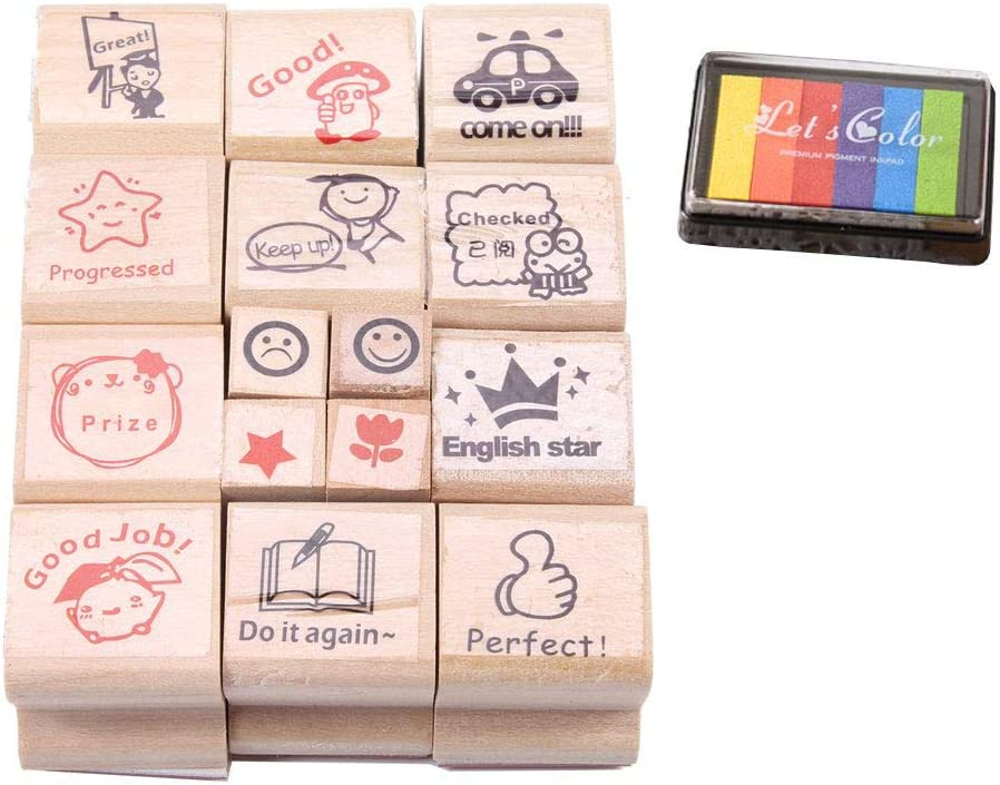 free vanki 15 pcs Cute Cartoon Stamps Wooden Teachers Encou Popular brand in the world